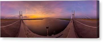 Sidney Lanier Bridge Twilight Panorama Canvas Print by Chris Bordeleau