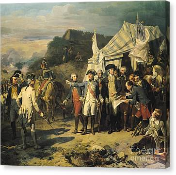 Siege Of Yorktown Canvas Print by Louis Charles Auguste  Couder