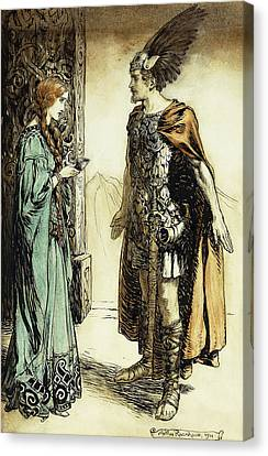 Siegfried Meets Gutrune Canvas Print by Arthur Rackham