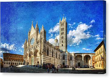 Siena Cathedral In The Evening - Vintage Version Canvas Print by Weston Westmoreland