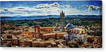 Siena - Duomo From Torre Del Mangia - Vintage Version Canvas Print by Weston Westmoreland