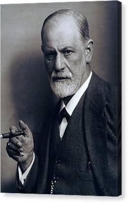 Sigmund Freud 1856-1939 Smoking Cigar Canvas Print by Everett