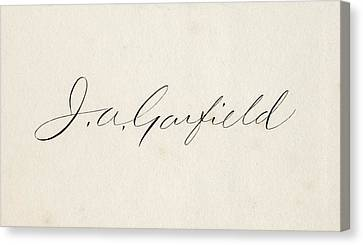 Signature Of James Abram Garfield 1831 Canvas Print by Vintage Design Pics