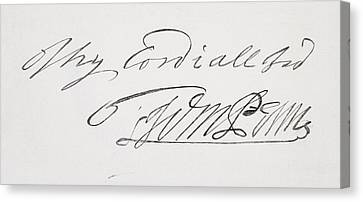 Signature Of William Penn 1644 To 1718 Canvas Print by Vintage Design Pics