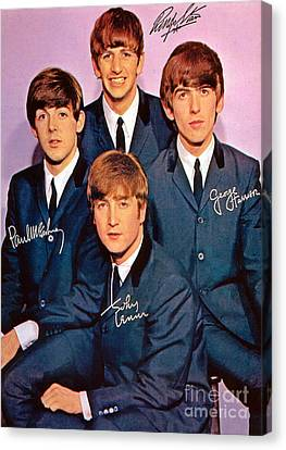 Signed Beatles Poster Canvas Print by Pd