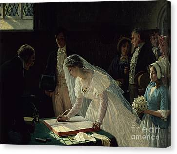Signing The Register Canvas Print by Edmund Blair Leighton
