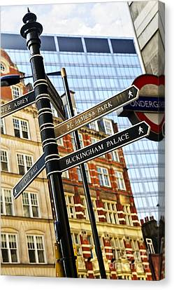 Signpost In London Canvas Print by Elena Elisseeva