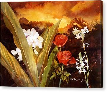 Silence-flowers Sleeping Canvas Print by Estela Robles