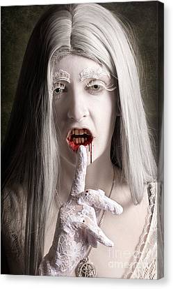 Silent Evil White Vampire Woman. Monster Secret Canvas Print by Jorgo Photography - Wall Art Gallery