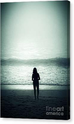 Silhouette On The Beach Canvas Print by Carlos Caetano