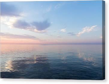 Silky Satin On The Lake - Blue And Pink Serenity Canvas Print by Georgia Mizuleva