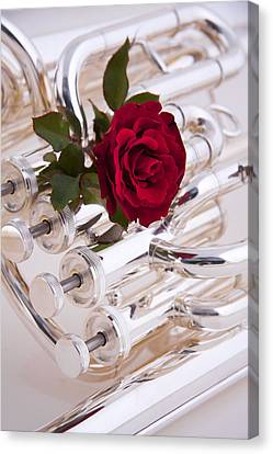 Silver Tuba With Red Rose On White Canvas Print by M K  Miller