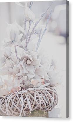 Silver Vintage Dream. Dutch Flowers Canvas Print by Jenny Rainbow