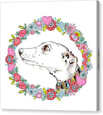 Silvertips Greyhound With Floral Border  Canvas Print by Jo Chambers