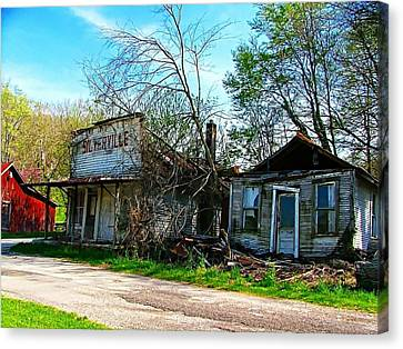Silverville Ghost Town In Blues Canvas Print by Julie Dant