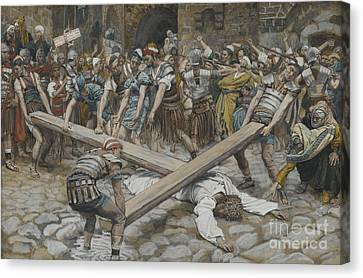 Simon The Cyrenian Compelled To Carry The Cross With Jesus Canvas Print by Tissot