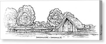 Simpsonville Umc Canvas Print by Greg Joens