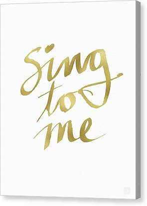 Sing To Me Gold- Art By Linda Woods Canvas Print by Linda Woods
