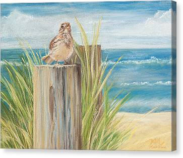 Singing Greeter At The Beach Canvas Print by Michelle Wiarda