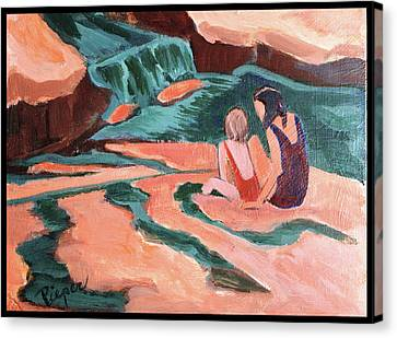 Sisters At Slide Rock Canvas Print by Betty Pieper