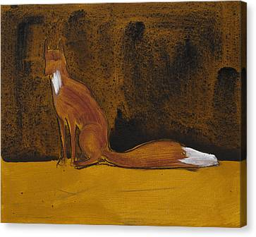 Sitting Fox In Iron Oxide And Lime Canvas Print by Sophy White