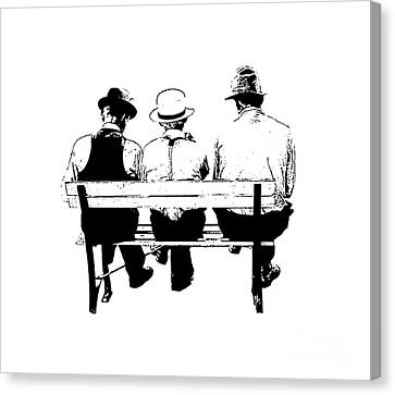 Sitting On A Park Bench Canvas Print by Edward Fielding