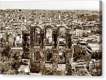 Six Arches In Athens Canvas Print by John Rizzuto