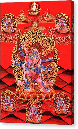 Six-armed Winged Mahakala In Yab Yum Canvas Print by Lanjee Chee