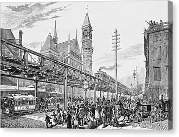 Sixth Avenue El Train 1878 Canvas Print by Omikron