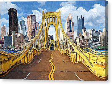 Sixth Street Bridge, Pittsburgh Canvas Print by Frank Harris