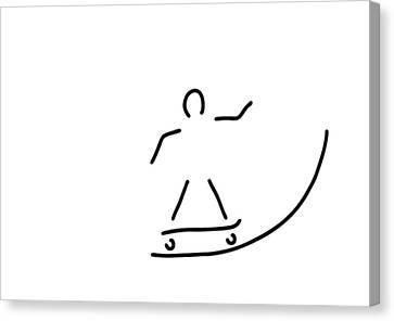 Skateboard Driver Halfpipe Canvas Print by Lineamentum