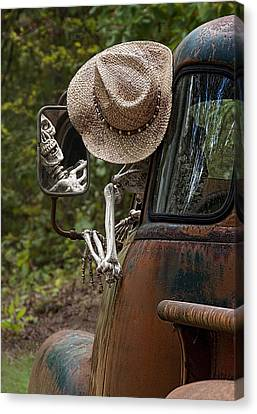 Skeleton Crew - Skeleton Driving A Vintage Truck Canvas Print by Mitch Spence