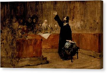 Sketch For Columbus Before The Council Of Salamanca Canvas Print by William Merritt Chase