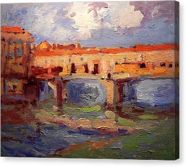 Sketch For Ponte Vecchio In Afternoon Light Canvas Print by R W Goetting