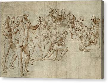 Sketch For The Lower Left Section Of The Disputa Canvas Print by Raphael