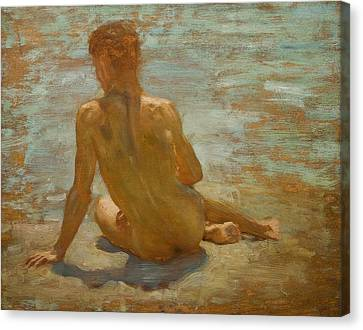 Sketch Of Nude Youth Study For Morning Spelendour Canvas Print by Henry Scott Tuke