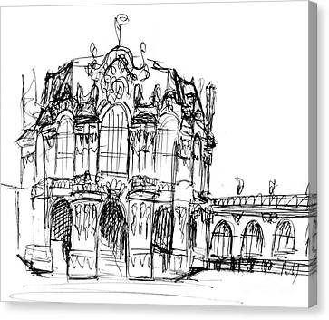 sketch of Zwinger building Canvas Print by Sofia Metal Queen