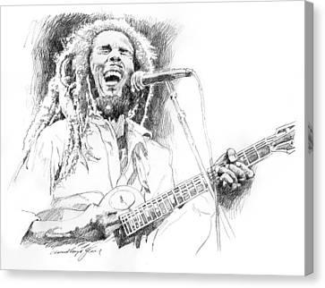 Sketches Of Bob Marley Canvas Print by David Lloyd Glover