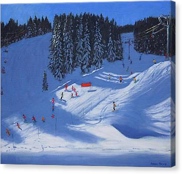 Ski School Morzine Canvas Print by Andrew Macara