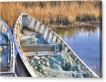 Skiffs And Nets Canvas Print by Benanne Stiens