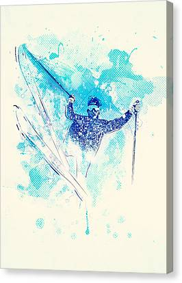 Skiing Down The Hill Canvas Print by Bekare Creative