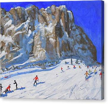 Skiing Down The Mountain,selva Gardena Canvas Print by Andrew Macara