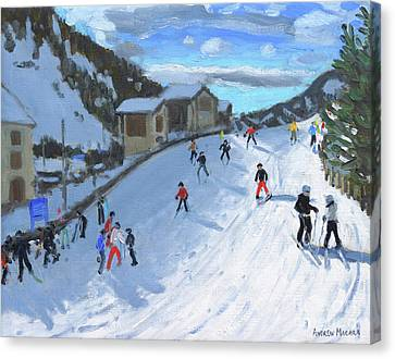 Skiing Down To Selva Val Gardena Canvas Print by Andrew Macara