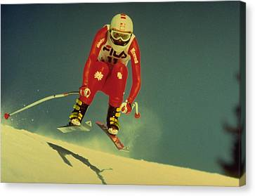 Canvas Print featuring the photograph Skiing In Crans Montana by Travel Pics