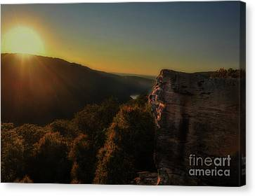 Skilled Climber In Evening Sun Canvas Print by Dan Friend