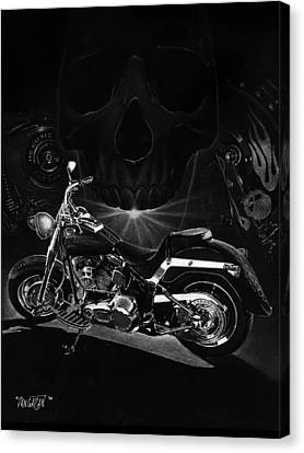Skull Harley Canvas Print by Tim Dangaran