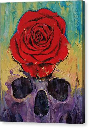 Skull Rose Canvas Print by Michael Creese