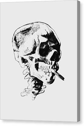 Skull Smoking A Cigarette Canvas Print by War Is Hell Store