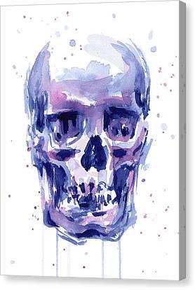 Skull Watercolor Canvas Print by Olga Shvartsur
