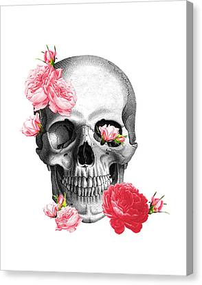 Skull With Pink Roses Framed Art Print Canvas Print by Madame Memento